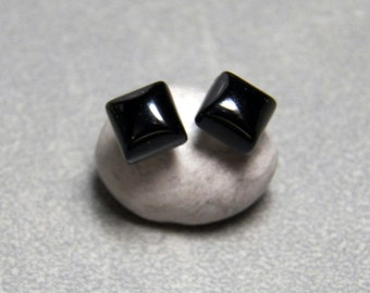 6mm Square Black Onyx Gemstone Post Earrings with Sterling Silver