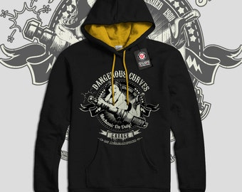 Dangerous Curves Car Garage Fun Men Black (Gold Hood) Contrast Hoodie S-2XL NEW | Wellcoda *d2293