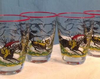 Vintage Libbey Cowboy Glasses, Mid Century Cowboy Drinking glasses, Vintage Libbey Western Glasses, mid century glasses