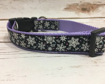 "The Winter Snowflake {Black} | Designer 1"" Width Dog Collar | CupcakePups Collars | Christmas/Winter | Medium/Large Dog Collar"