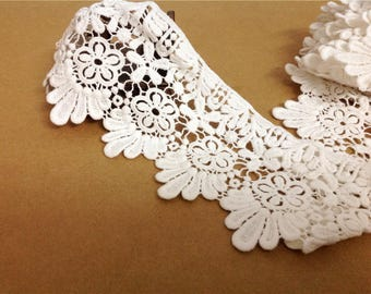 White Floral Lace Trim Embroidery Hollow Out Lace Trim 3.93 Inches Wide 1 Yard L0227