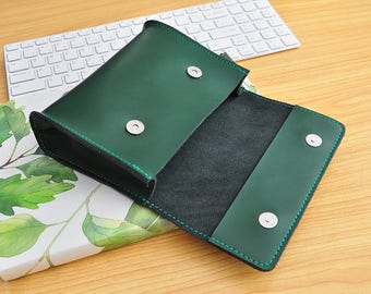Green leather Cord Keeper for Charger Cord and Ear Buds,Charger organizer,Leather Bag,Leather Pouch,Mens Gift,Make-up Case, Travel pouch-095