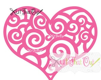 EXCLUSIVE Scroll Swirly Heart Valentine SVG and DXF File