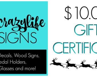 Gift Certificate - 10 Dollar
