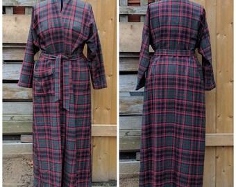 Vintage Red Plaid Custom Made Men's or Women's Full Length Wool Robe / Dressing gown