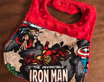 Red Iron Man Superhero Minky Bib