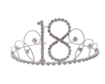 18th Birthday Diamante Crystal Tiara - Silver Plated Finish