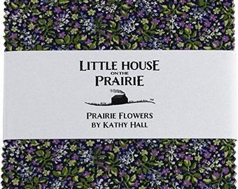 "Little House on The Prairie Prairie Flowers 5"" squares from Andover by the pack"