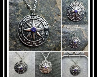 Memorial Ash Compass Pendant/ Memorial Jewelry/ Ash Necklace/Pet Memorial/ Cremation Jewelry/ Cremation Necklace/60 Color Options
