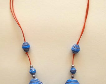 Paper Necklace, Recycled Paper Necklace, Maxi Paper Count Blue