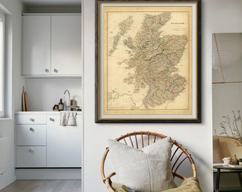 Antique Scotland Map 1834, Scotland Map, Scotland Old Map, Vintage Decor, Vintage Map- CP047