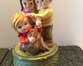 Music Box ~ Three Children ~ Girl with Guitar ~ Green ~ Vintage