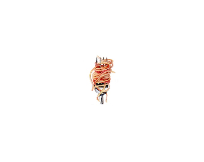 """Print of miniature painting of Spaghetti on a Fork. 1 1/4""""x1 1/4"""" print of original Spaghetti painting on 5"""" square german etching paper"""