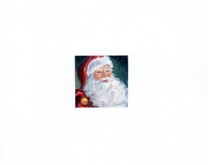 "Print of miniature painting of Santa Claus. 1 1/4 x 1 1/4"" print of Santa Claus painting on 5"" square german etching paper"