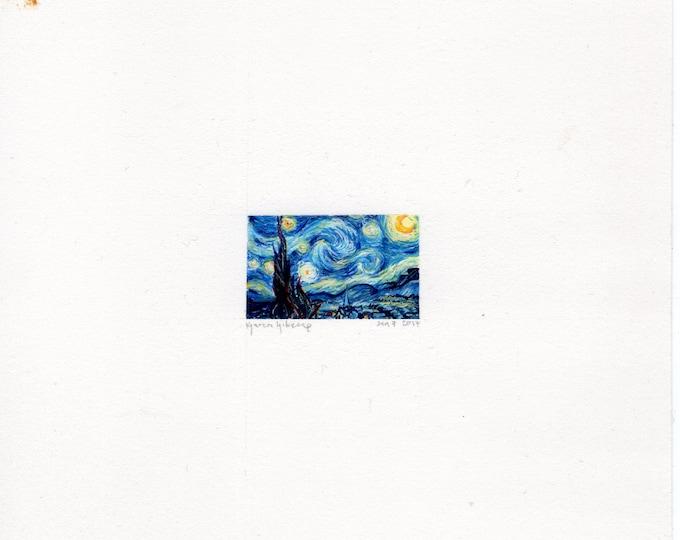 """Print of miniature painting Van Gogh Starry Night. 1 1/4"""" x 1 1/4"""" print of Van Gogh Starry Night painting on 5"""" square german etching paper"""