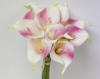 """JennysFlowerShop 15"""" Latex Real Touch Artificial Calla Lily 10 Stems Flower Bouquet for Wedding/ Home 2017New- Pink"""