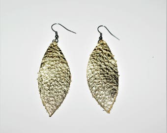 Feather Earrings,Gold Feather Leather Earrings, Metallic Gold Leather earrings, Gifts for mom