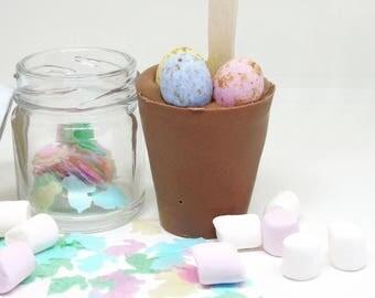 Easter egg hot chocolate stirrer set