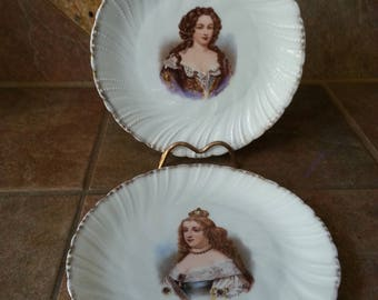 Pair of Antique Victoria Carlsbad Austria Porcelain Plates, Circa 1900, Marie Therese and Madom Montespan, Excellent Condition Great Find