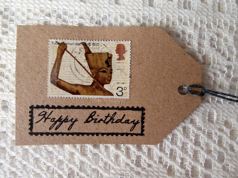 4 EcoFriendly Happy Birthday Gift Tags Tutankhamun Egypt – Egyptian Birthday Cards