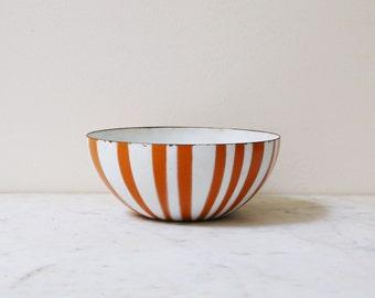 "Cathrineholm orange stripe bowl 5.5"" // listing for 1 bowl // enamel bowl // mcm bowl // 2 of 4"