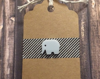 Grey Elephant Lapel Pin / Tie Tack - Acrylic