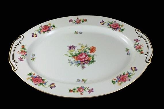 Oval Platter, Sango China, Occupied Japan, Floradel, Large Platter, Floral Pattern, 16 Inch, Multi-floral, Gold Trim