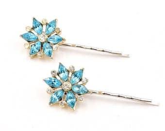 Blue flower rhinestone hair pins aqua rhinestone hair pin, 1950s vintage earrings, aqua flower hair pins, rhinestone bobby pins,  hair clips