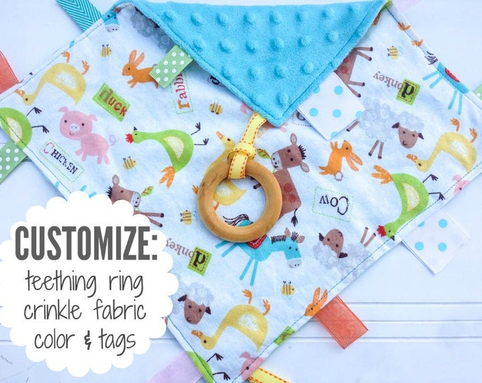 Baby Sensory Tag Blanket | Options: Natural Teething Ring, Crinkle Material, Color | Farm Animals