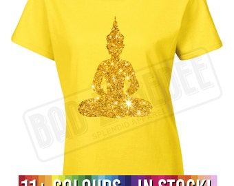 Lady Fit Sparkle Buddha T Shirt | Peace Love Gift | Various Colours | Free UK Delivery