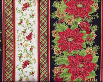 Christmas Pointsetta Stripe Curtain Valance