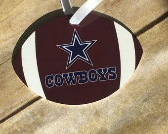 Personalized Football Shaped Aluminum Christmas Ornament