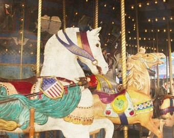 Carousel Horse Photograph, Carnival Photography, State Fair Photo, Nursery Decor, Whimsical, Kids Room Fine Art Photography, Retro Vintage