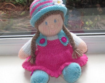 A Hand Knitted Cute Soft Toy Doll , 10 Inches Tall, Removeable Dress, Knitted Doll, Knitted Soft Toy, Dressed Doll, Ready To Ship/Post