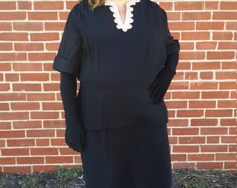 1940 vintage black dress with Rhinestone neckline by Clayton FREE SHIPPING from RCMooreVintage plus size