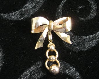 Bow Watch pin , vintage 12kt gold filled ,  removable dangle