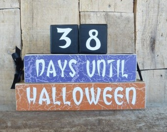Countdown blocks, days (weeks) until Halloween, Halloween blocks, Fall decor, Autumn, Trick or Treat, Halloween decoration,