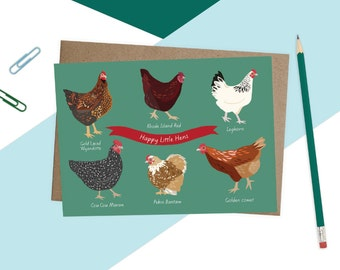 Illustrated Chickens Card, Chicken Card for Chicken Lovers, Chicken Illustration, Home Decor, Prints for the Kitchen, Farm House chic