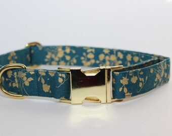 Teal and Gold Floral Dog Collar