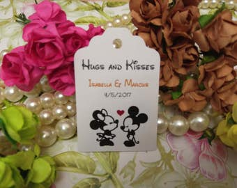 Hugs and kisses tags - Wedding favor tag - Personalized wedding tag - Wedding gift tags - disney inspired - Set of 25 to 300 pieces Mini tag