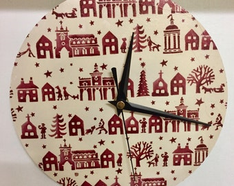 Wooden Christmas Round Wall Clock Decoupaged in Emma Bridgewater Christmas Town