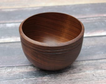 Black Walnut Wood Bowl, Medium Handmade Bowl, Food Safe, Hand Turned Wooden Bowl, Thick Walled Solid Walnut Bowl