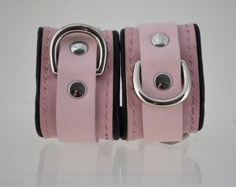 Padded Leather Wrist Cuffs - Pink/Nickel - BDSM/Fetish/Cosplay