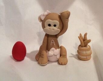 Fondant Red Egg & Ginger Monkey Cake Toppers