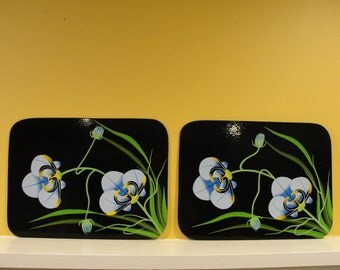 Blue Flower Hand-painted Placemats - Set of 4