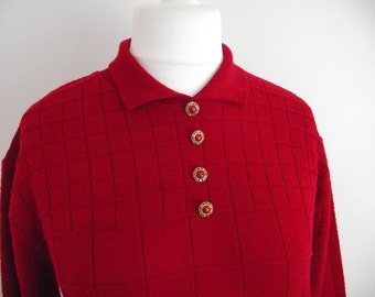 Vintage sweater jumper 80s red acrylic wool checked jumper - Made In England size medium large