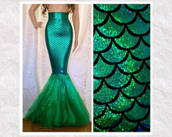Fish Scale Mermaid Costume Tail Skirt - Sexy High Waist - Adult Halloween Costume
