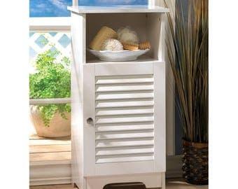 Sleek Nantucket Style Storage Shelf Cabinet