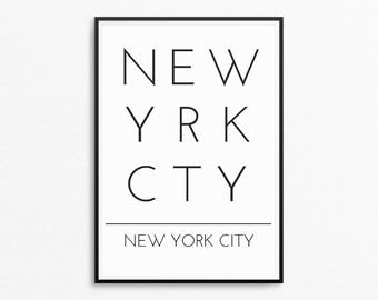 New York Print, New York Printable Poster, Black And White Printable Wall Art, Instant Download, Minimal New York Print, Digital Print