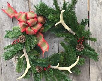 Winter Wreath, Antler Wreath, Rustic Wreath, Christmas Wreath, Front Door Wreath, Evergreen Wreath, Jingle Bell Wreath,  Antler Decor
